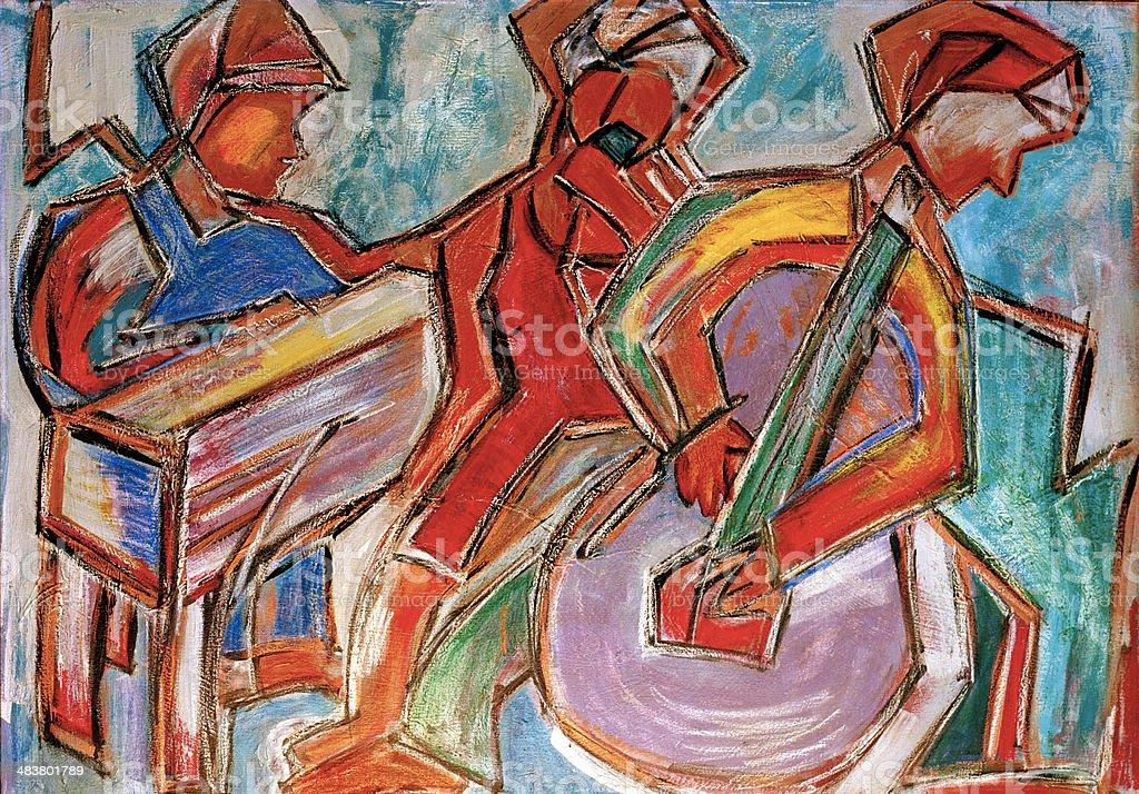 Jazz Musicians, Original Painting, Acrylic on Canvas vector art illustration