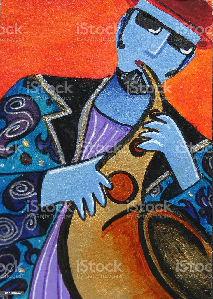 Jazz sax man royalty-free stock vector art