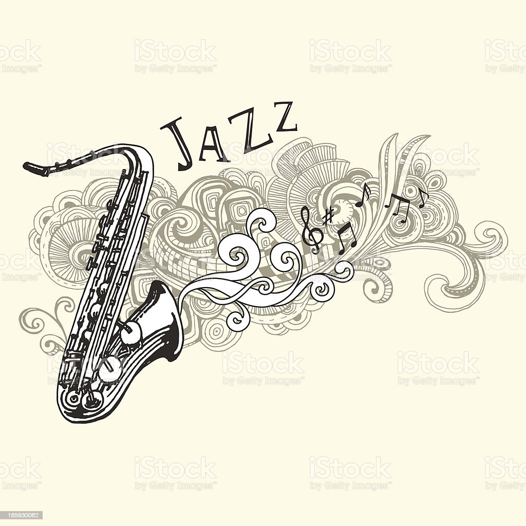 Jazz Saxophone Drawing vector art illustration