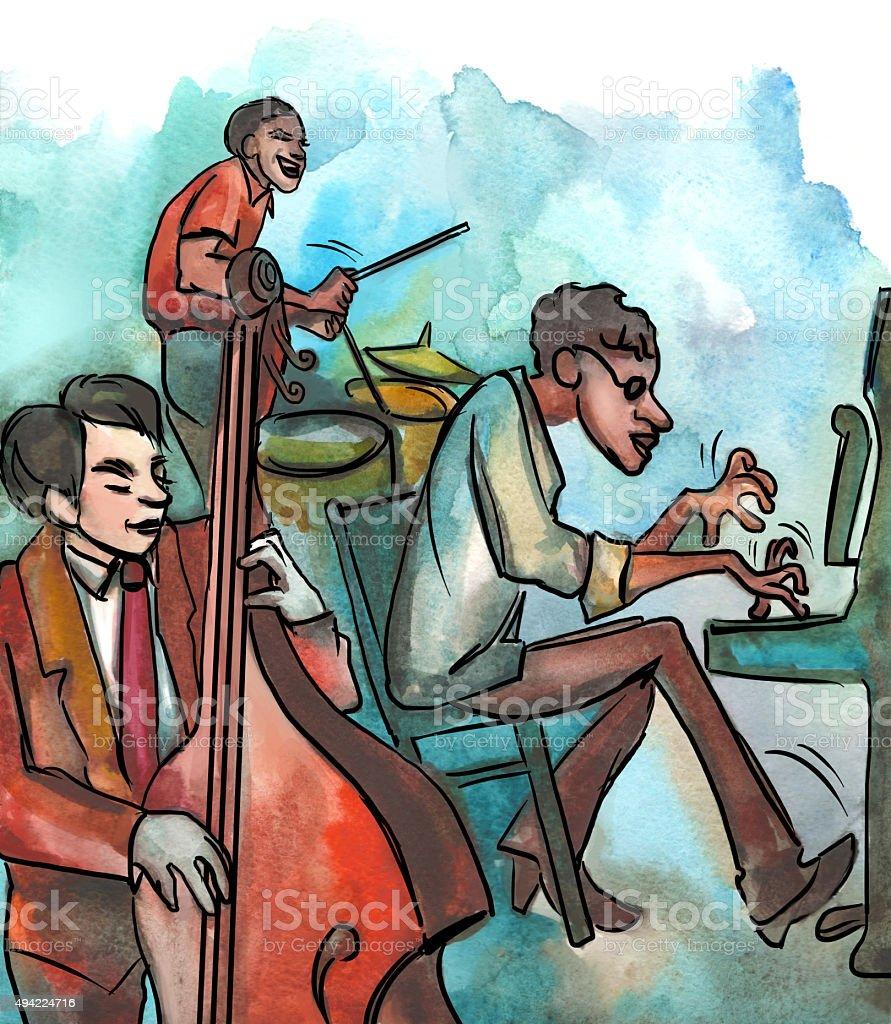 Jazz trio playing jazz composition vector art illustration