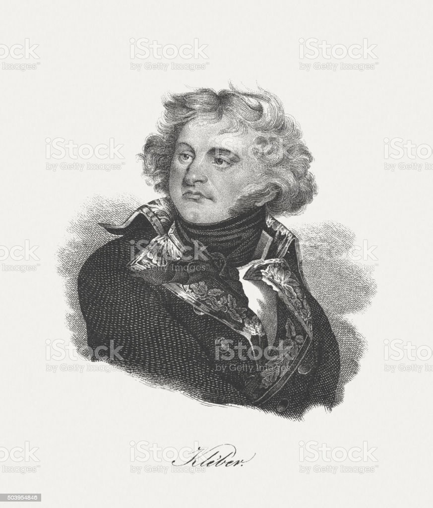 Jean Baptiste Kléber (1753-1800), French general, lithograph, published in 1840 vector art illustration