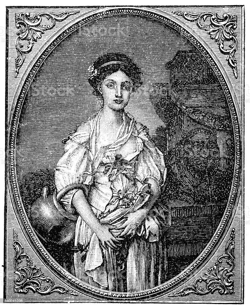 Jean-Baptiste Greuze 'A girl with a broken jug.' vector art illustration