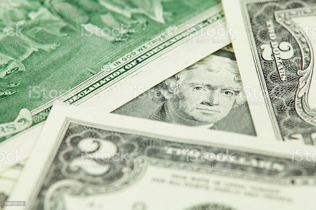 Jefferson Surrounded by $2 Bills vector art illustration