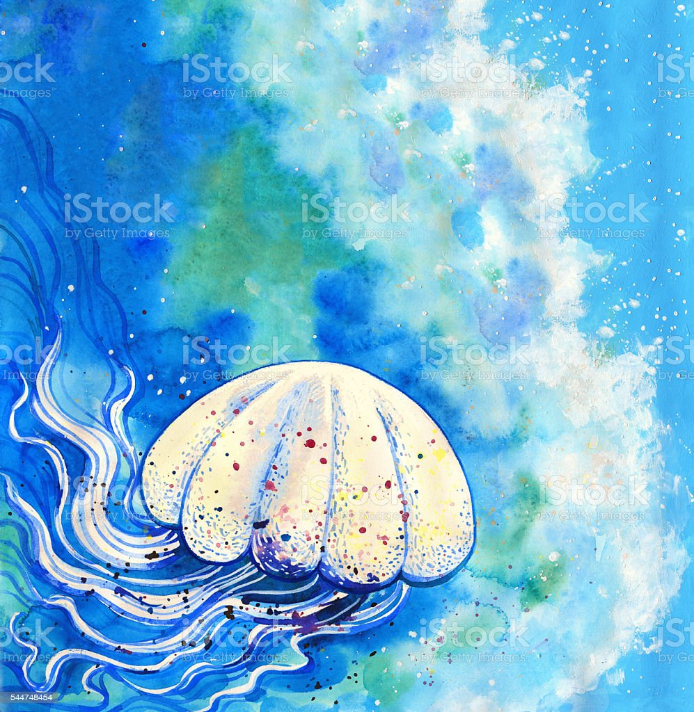 Jelly fish watercolor painting vector art illustration