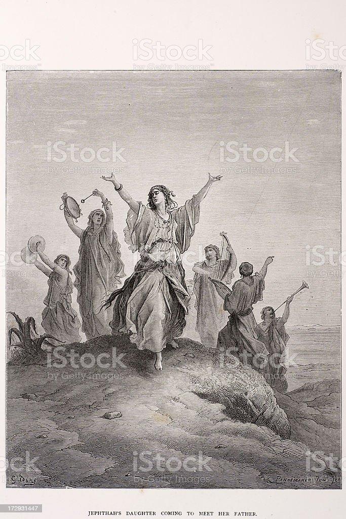 Jephthah's daughter royalty-free stock vector art