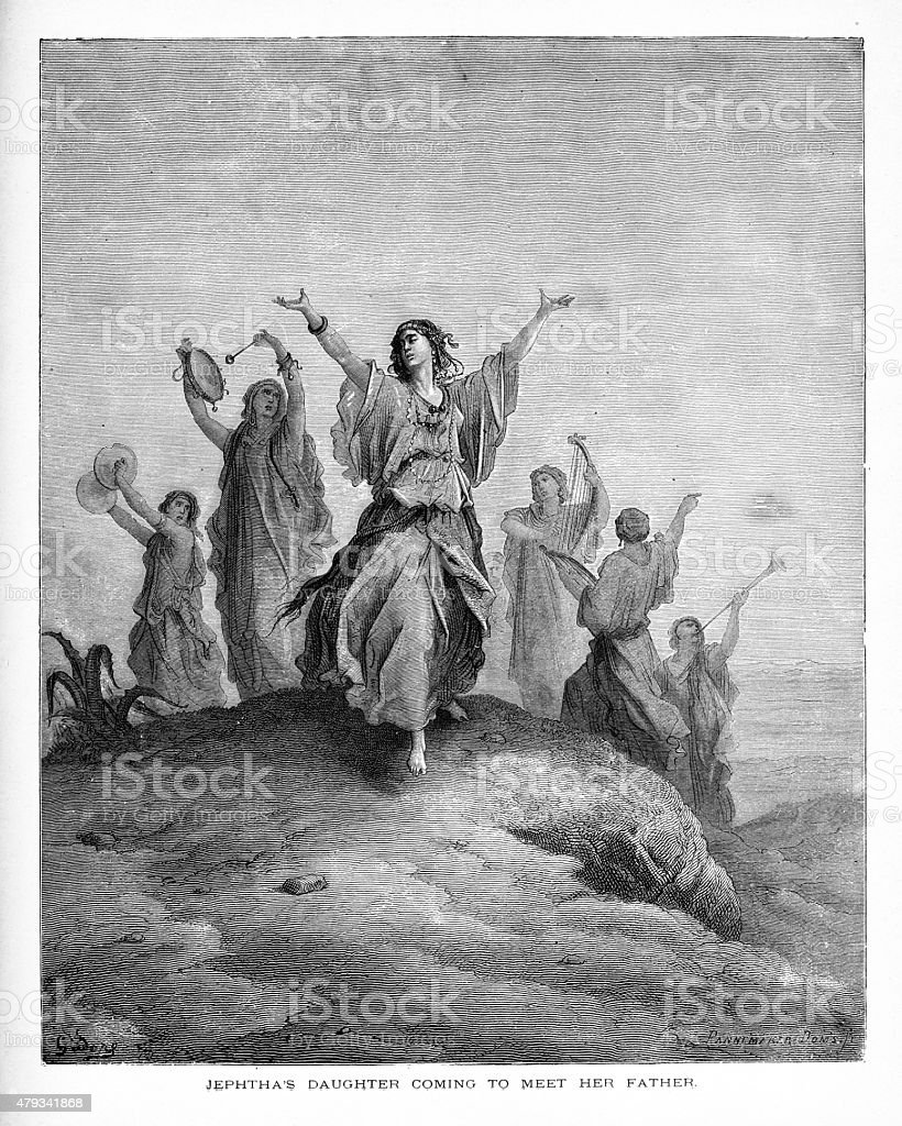 Jephtha's Daughter Coming to Meet Her Father Biblical Engraving vector art illustration