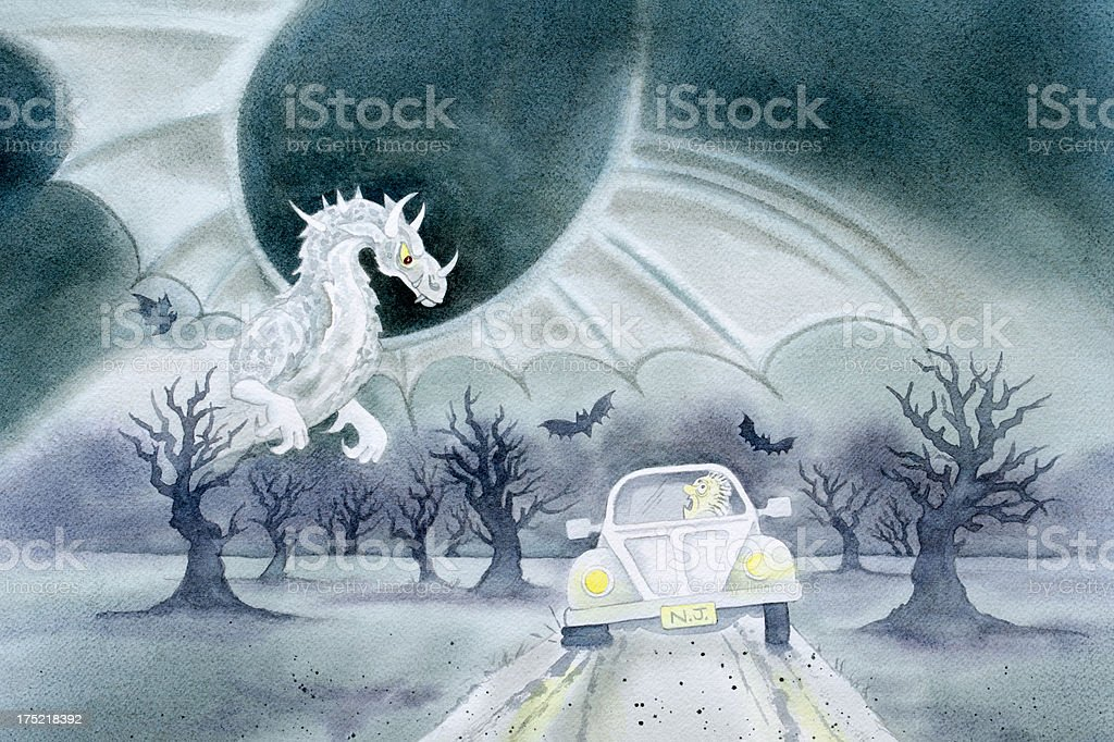Jersey Devil and the Flat Tire royalty-free stock vector art