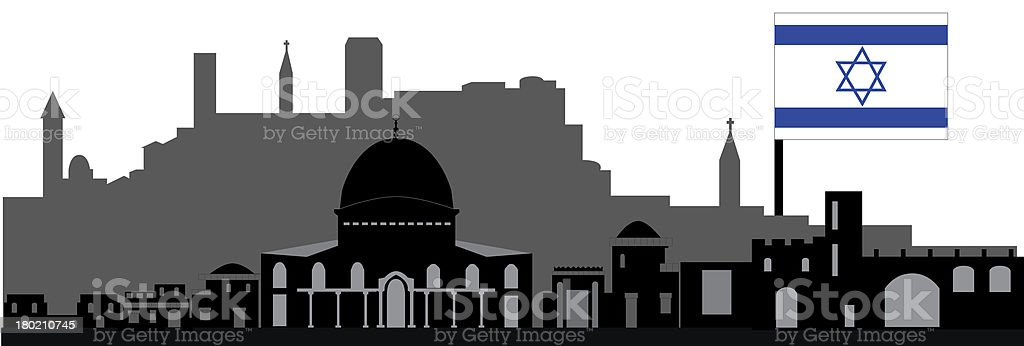 Jerusalem skyline Israel royalty-free stock vector art