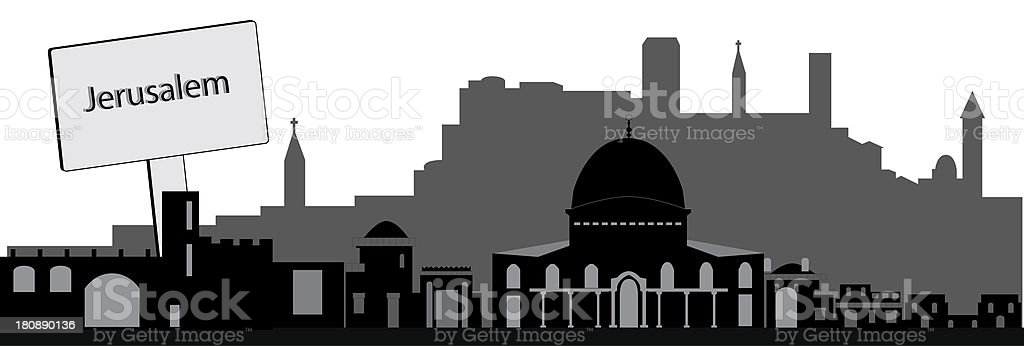 Jerusalem skyline Israel royalty-free stock vector art