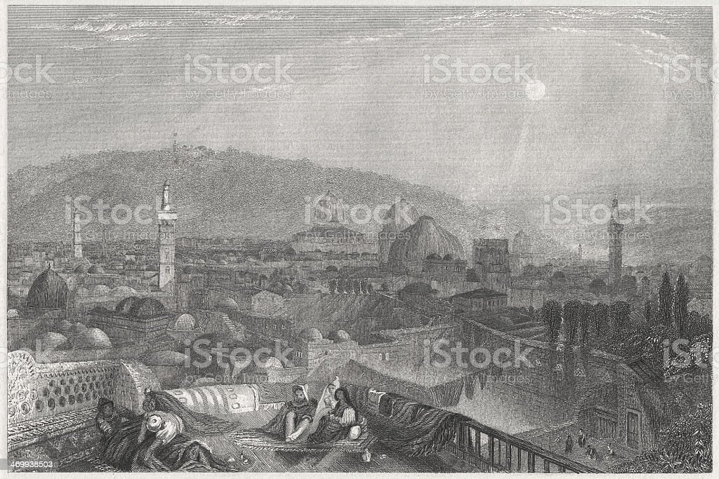 Jerusalem, view from San Salvador monastery, steel engraving, published 1836 vector art illustration