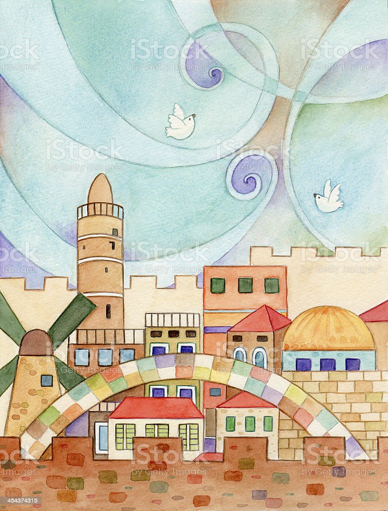 Jerusalem With Doves royalty-free stock vector art