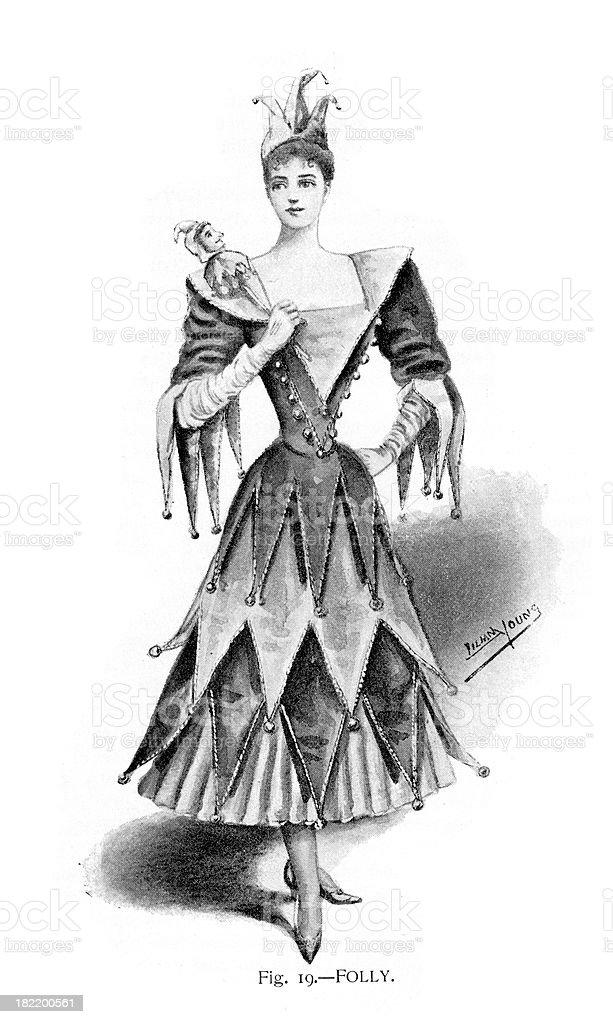 Jester Fancy Dress Costume royalty-free stock vector art