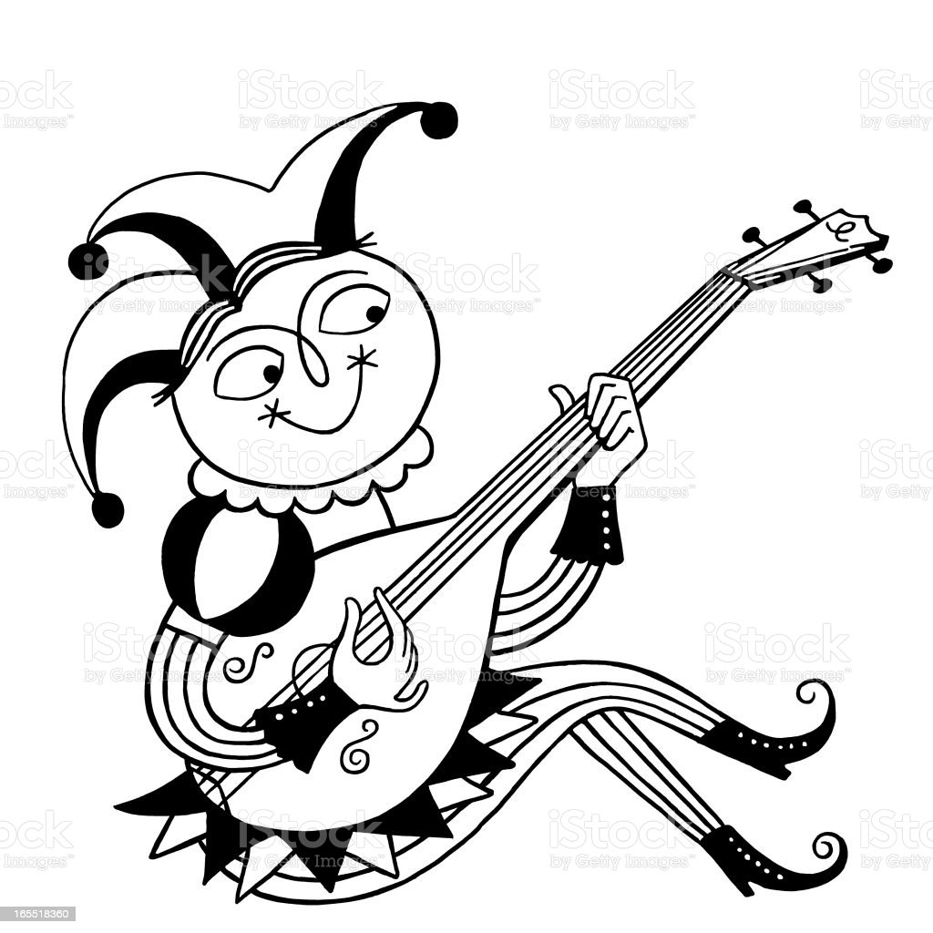 Jester Playing an Instrument royalty-free stock vector art