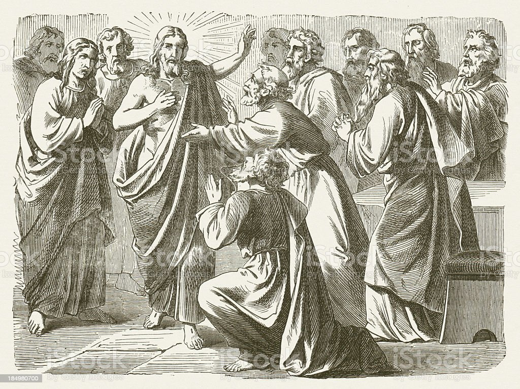 Jesus and doubting Thomas (John 20), wood engraving, published 1877 vector art illustration