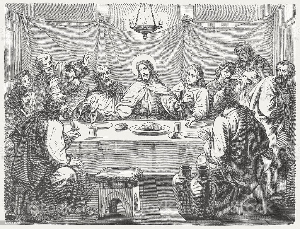 Jesus and his disciples at the Last Supper, published 1877 royalty-free stock vector art