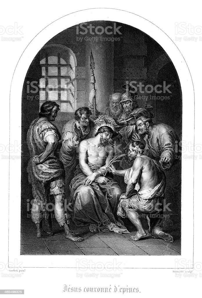 Jesus and the Crown of Thorns royalty-free stock vector art