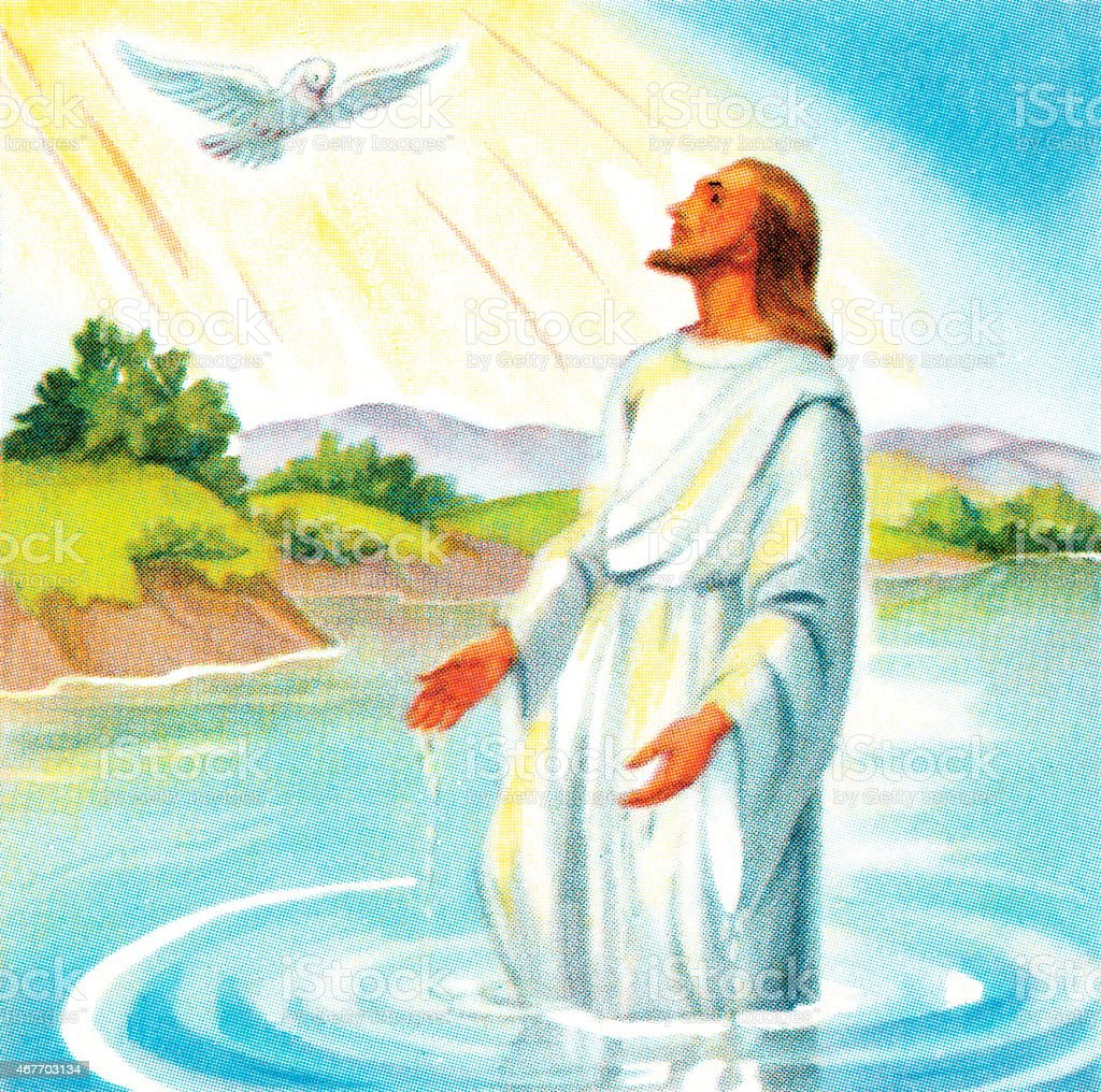 Jesus and the dove vector art illustration