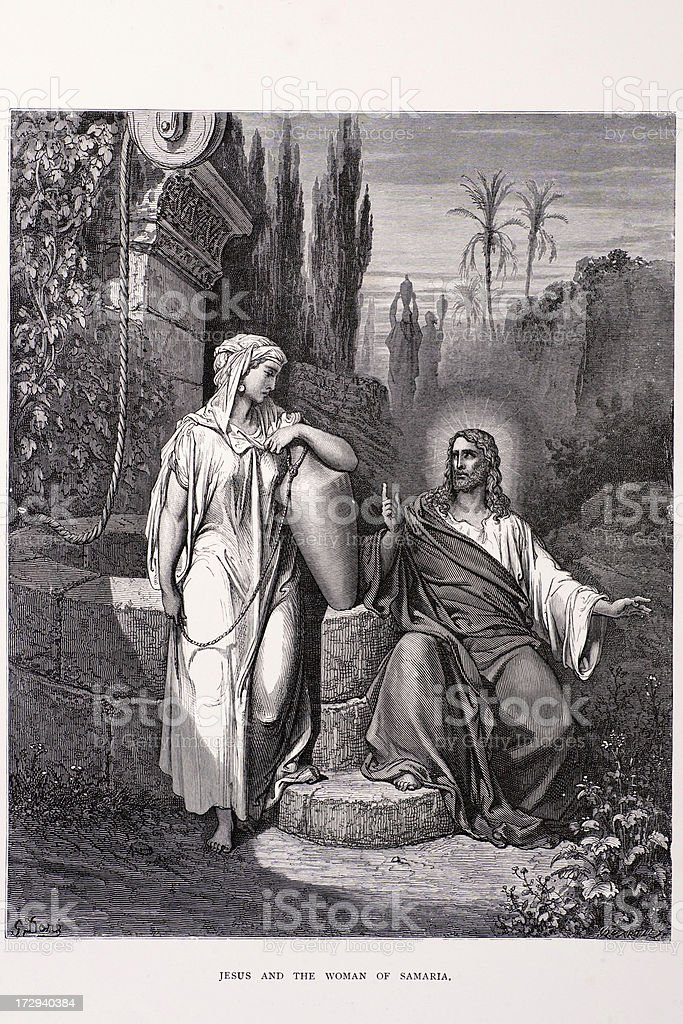 Jesus and the woman of Samaria vector art illustration