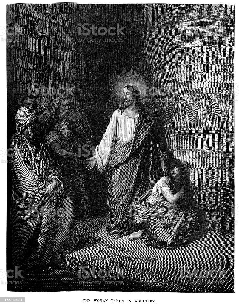 Jesus and the Woman taken in Adultery royalty-free stock vector art
