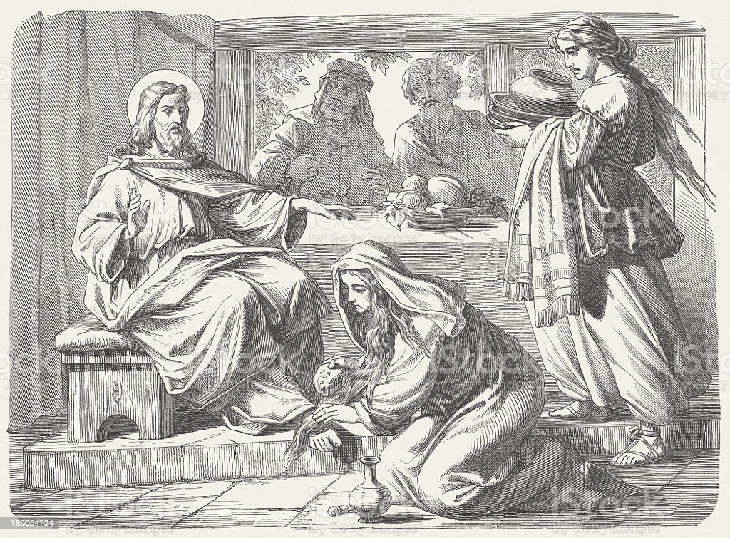 Jesus' Anointing (Luke 7, 37-38), wood engraving, published in 1877 vector art illustration