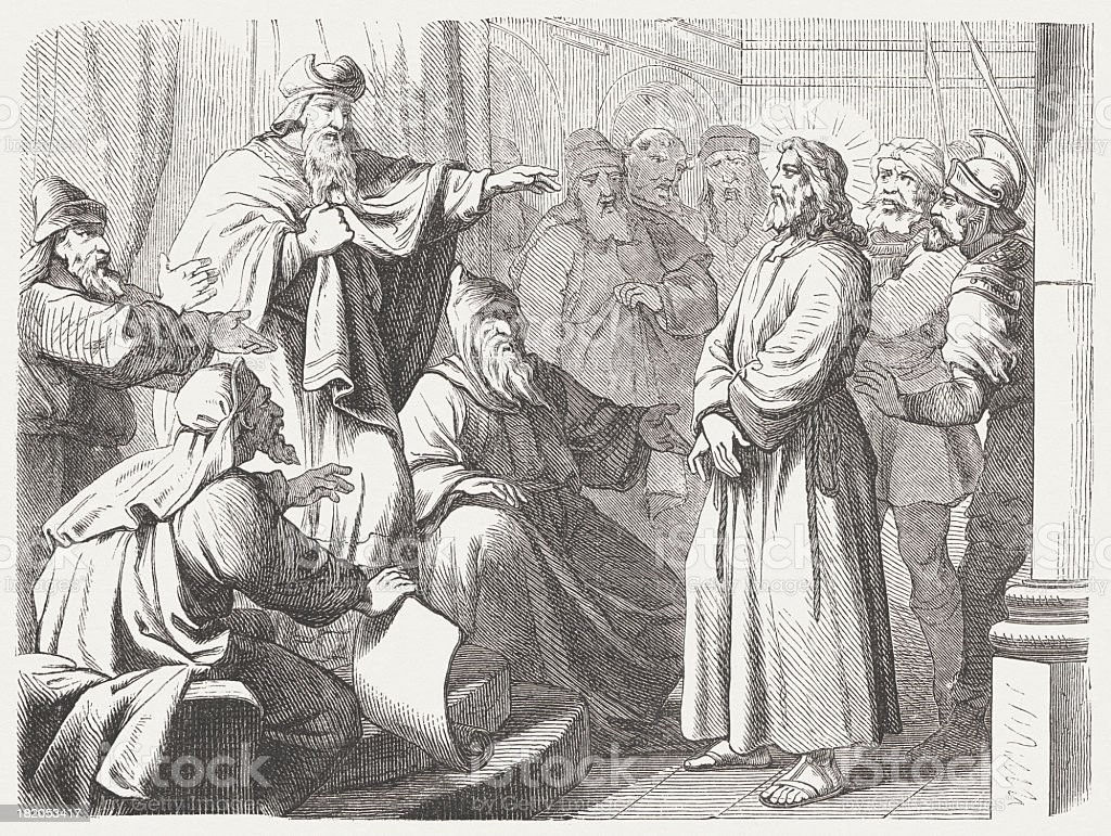 Jesus before Caiaphas (Matthew 26, 57-68), wood engraving, published 1877 royalty-free stock vector art
