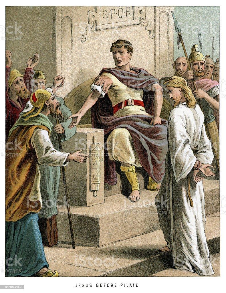 Jesus before Pontius Pilate vector art illustration
