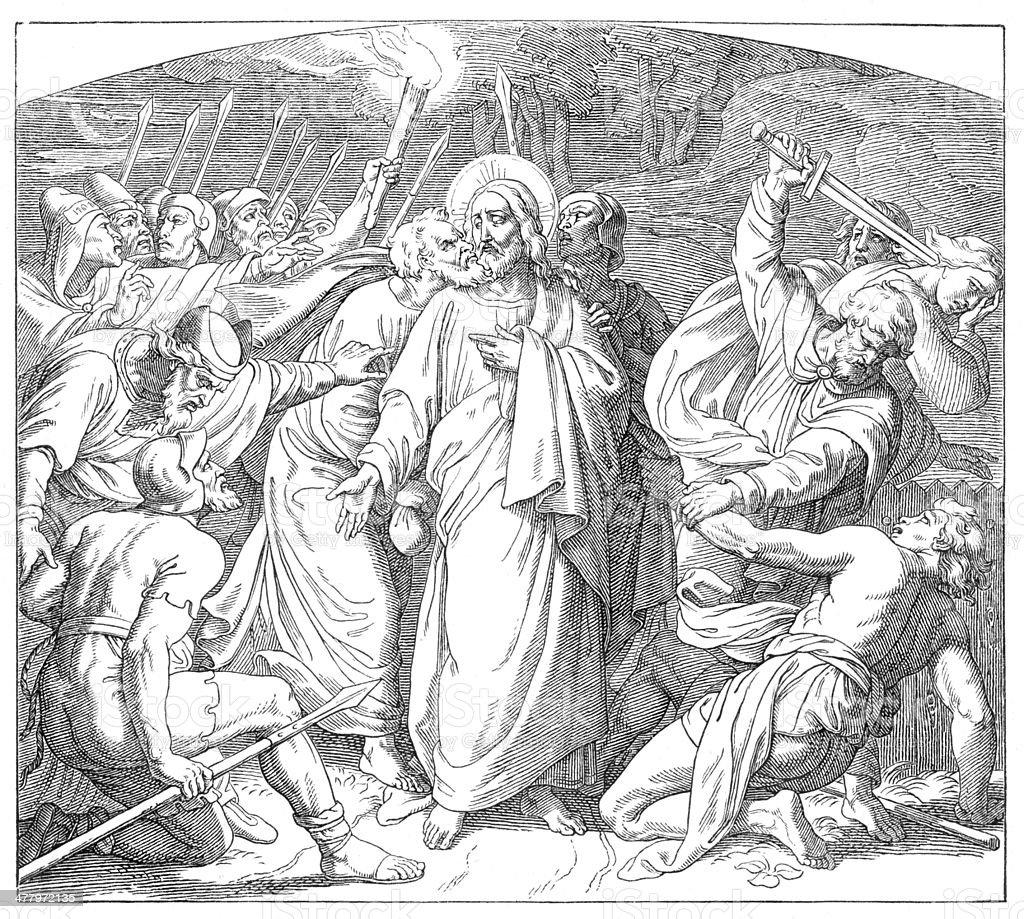 Jesus' betrayal and arrest through Judas Iscariot royalty-free stock vector art