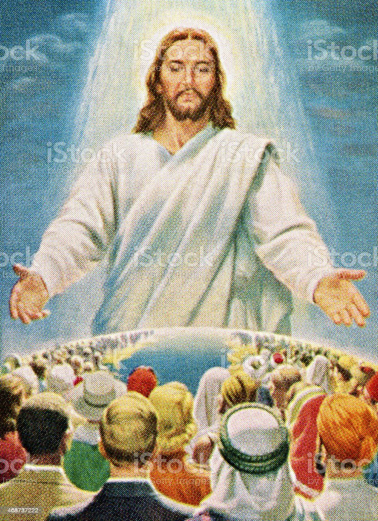Jesus Blessing People in the World vector art illustration