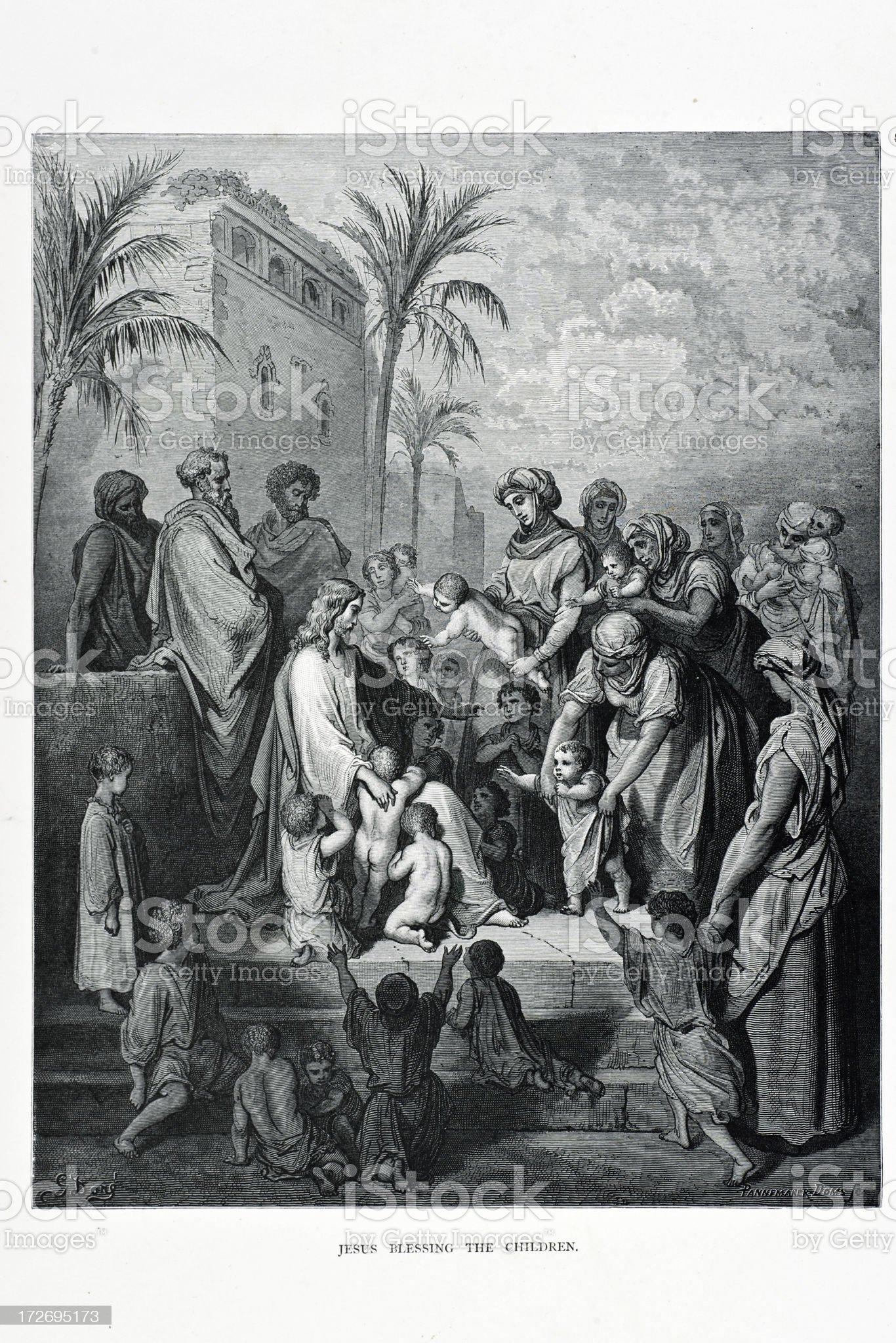Jesus blessing the Children royalty-free stock vector art