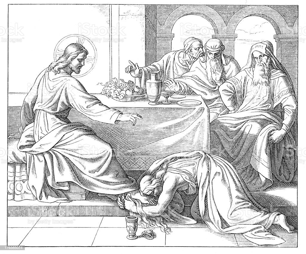 Jesus blessing woman - parable of two debtors vector art illustration