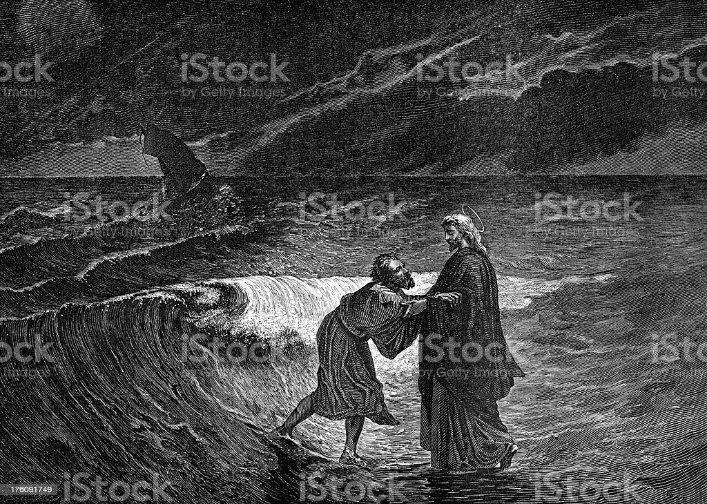 Jesus Christ and Peter Walk on Water vector art illustration