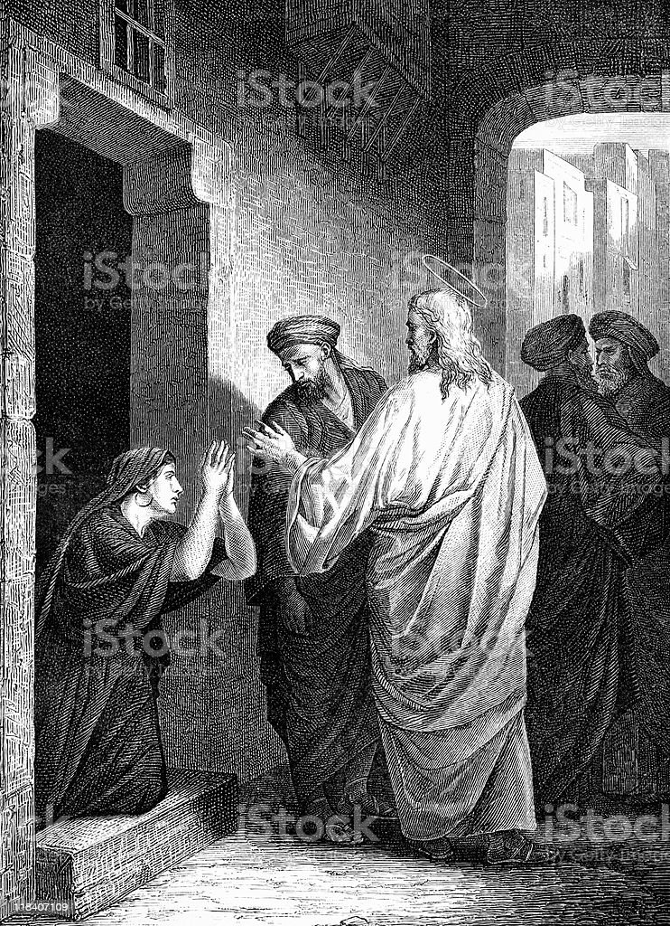 Jesus Christ Blesses a Kneeling Woman vector art illustration