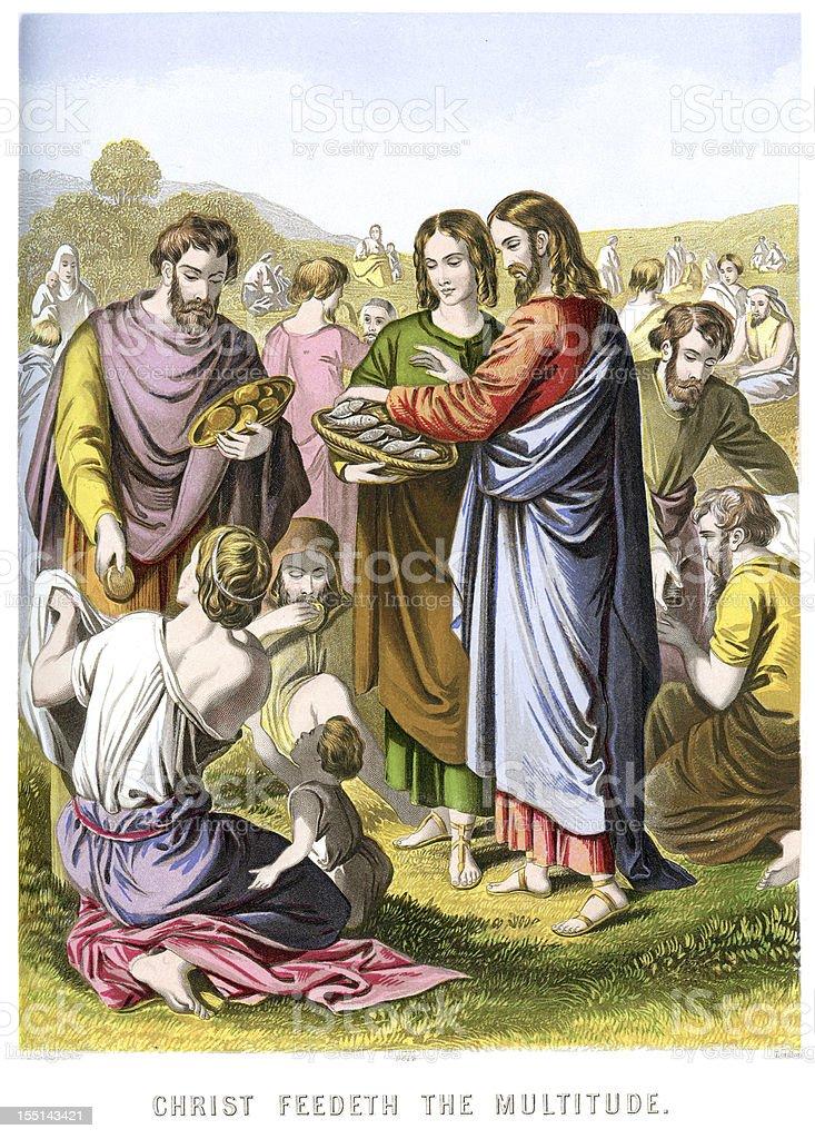 Jesus Christ Feeding the multitude vector art illustration
