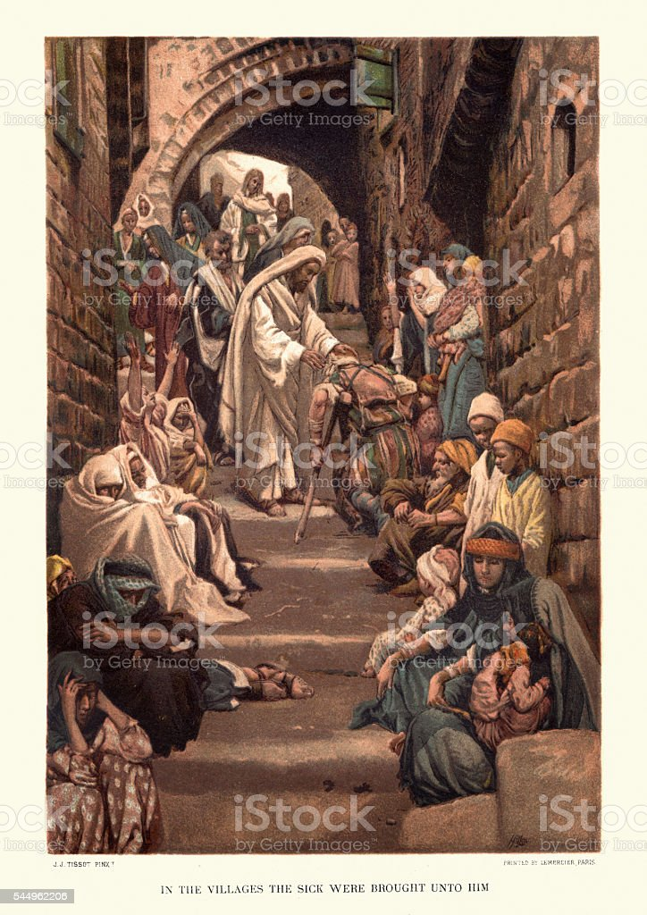Jesus Christ healing the sick vector art illustration