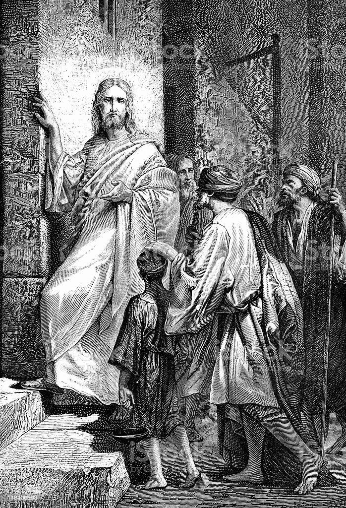 Jesus Christ Heals Two Blind Men royalty-free stock vector art