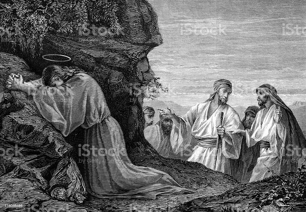 Jesus Christ Kneels in Prayer royalty-free stock vector art