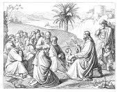 Jesus Christ preaching in front of crowd Jerusalem
