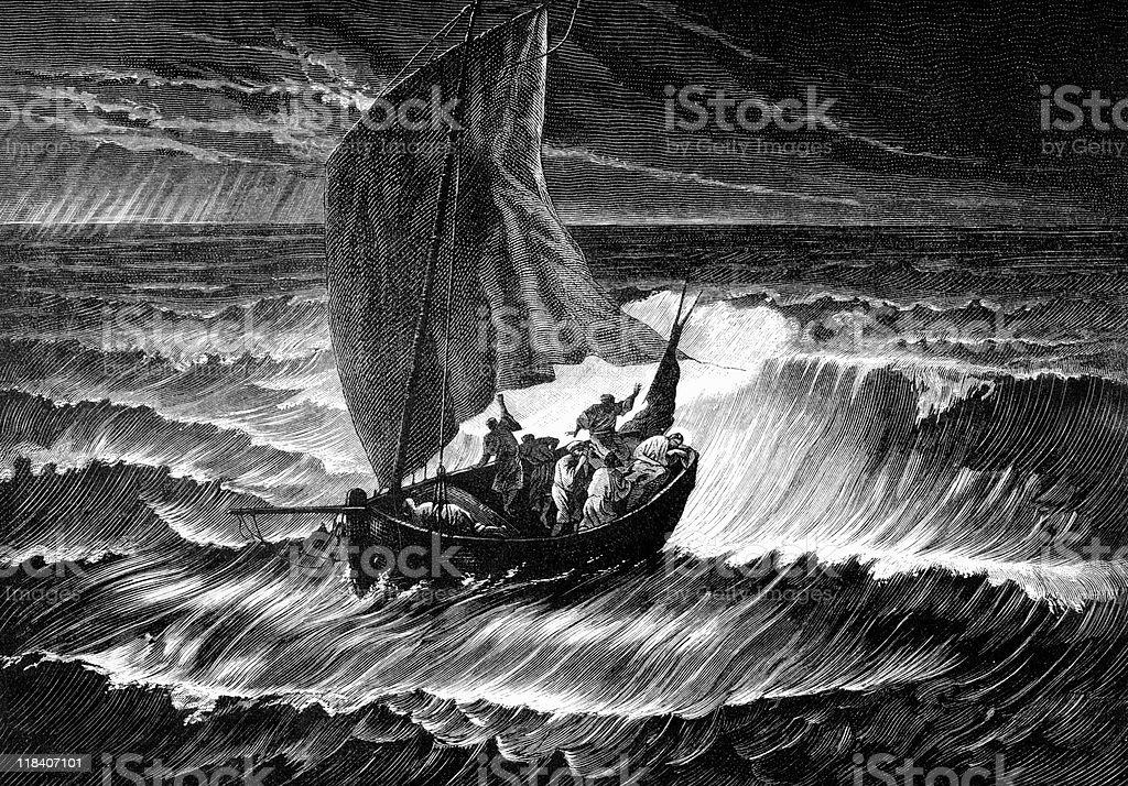 Jesus Christ Sleeps in Boat through Storm vector art illustration