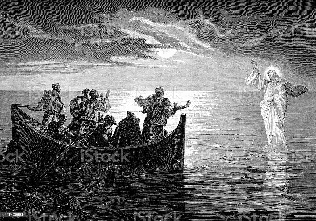 Jesus Christ Walks on Water vector art illustration