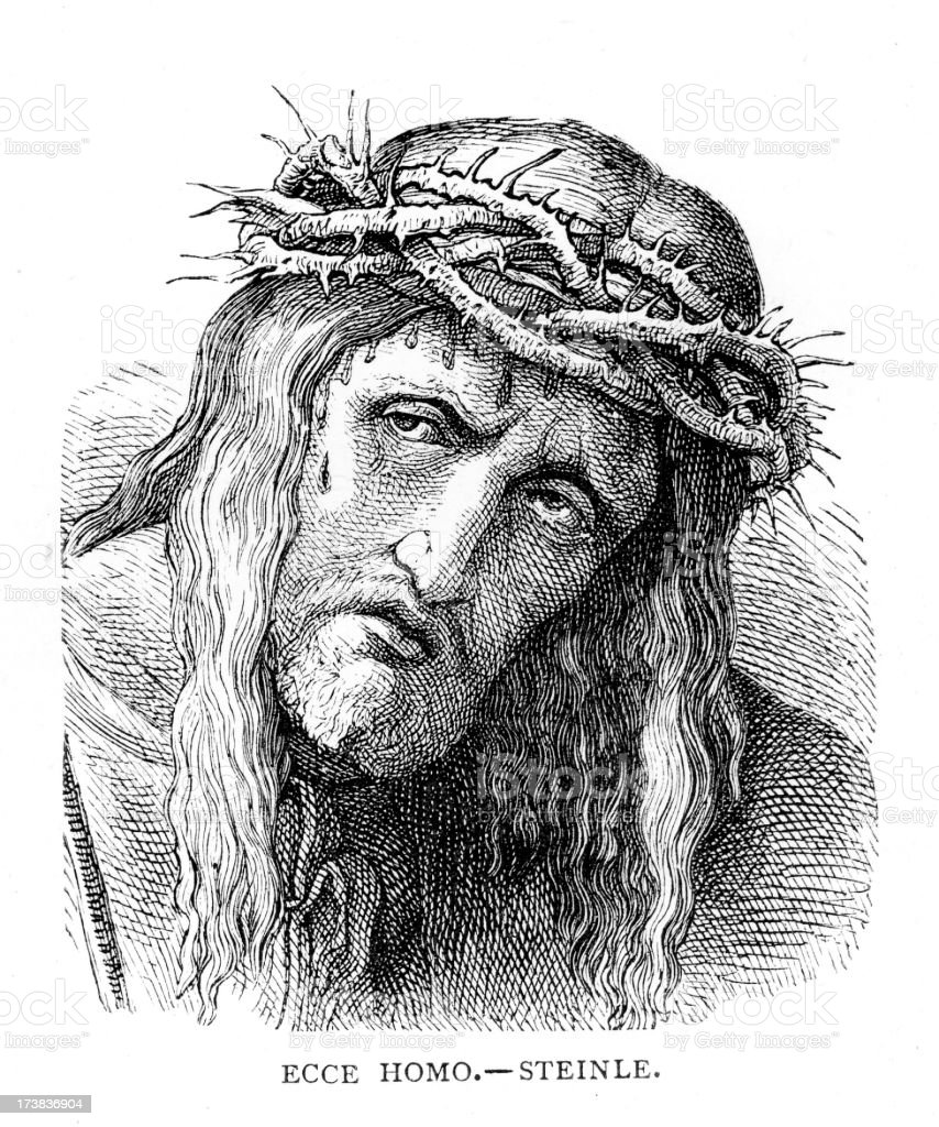 Jesus Christ with Crown of Thorns royalty-free stock vector art
