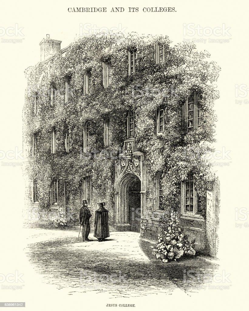Jesus College, Cambridge University, 19th Century vector art illustration