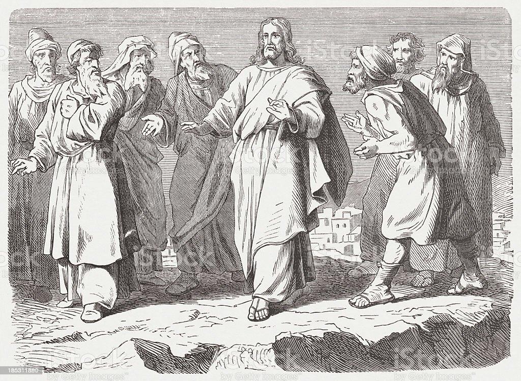 Jesus escapes his foes vector art illustration