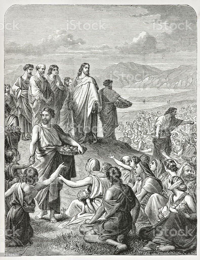 Jesus feeding the multitude vector art illustration