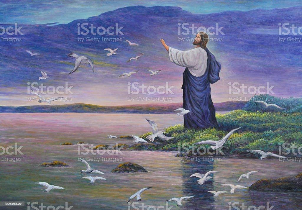 Jesus feeds birds vector art illustration