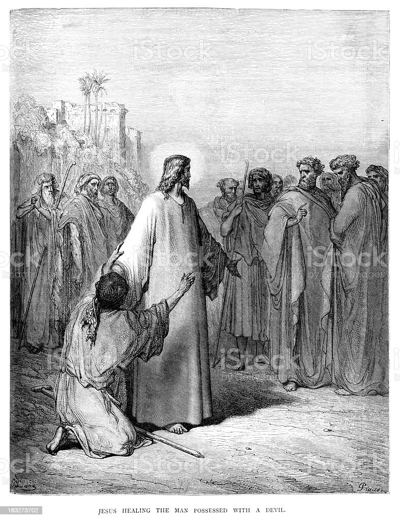 Jesus healing the possessed man royalty-free stock vector art