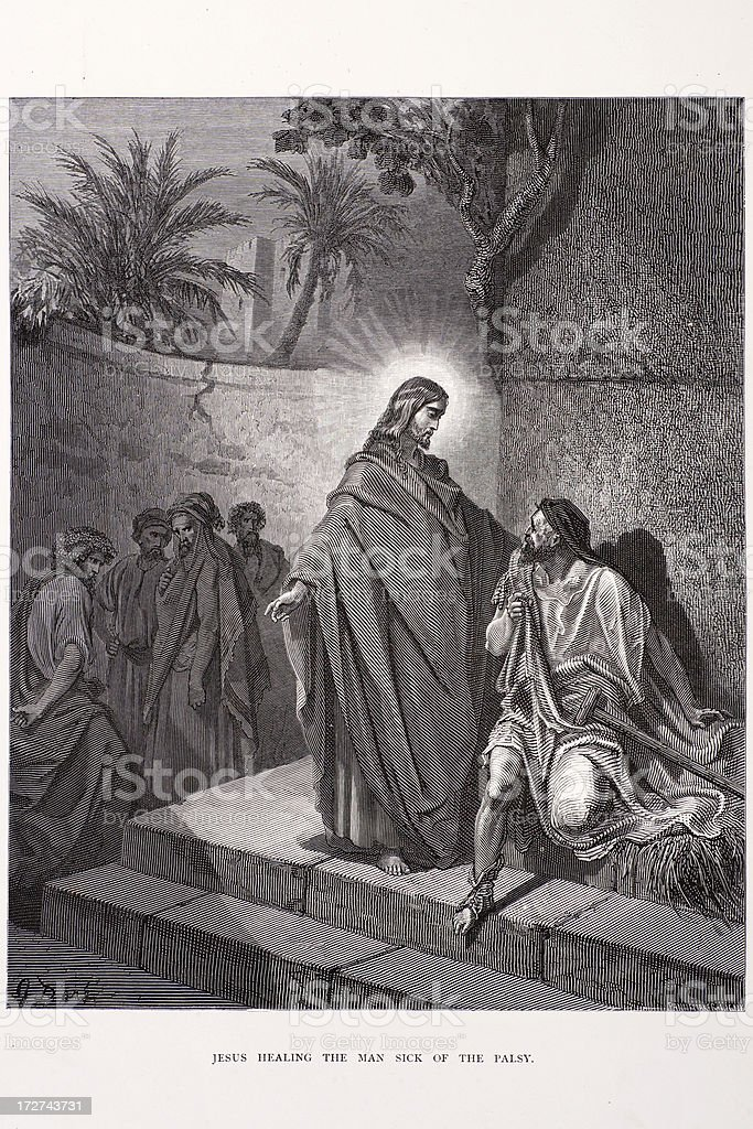 Jesus healing the sick man royalty-free stock vector art