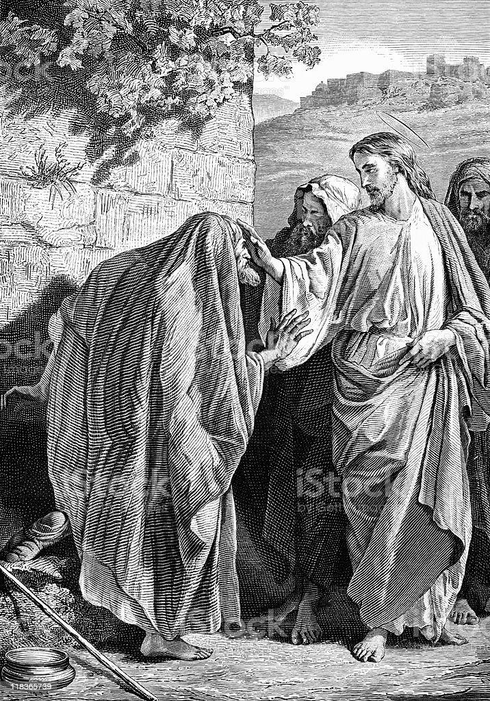 Jesus Heals a Leper vector art illustration