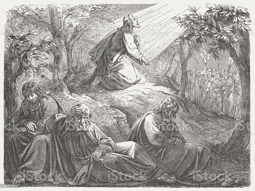 Jesus in Gethsemane and the sleeping disciples, published in 1877 vector art illustration