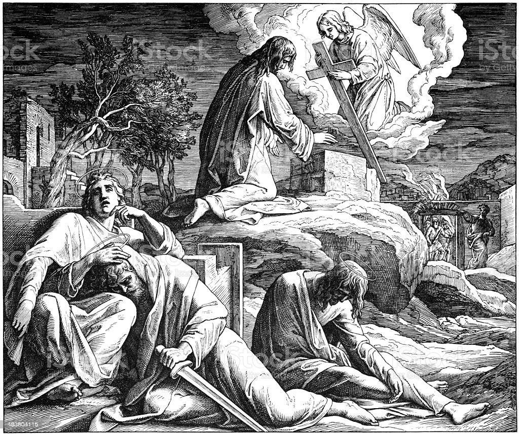 Jesus in Gethsemane vector art illustration