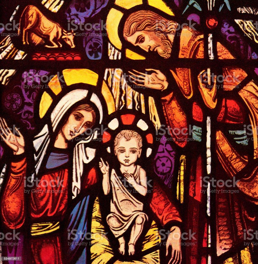 Jesus, Mary, and Joseph vector art illustration